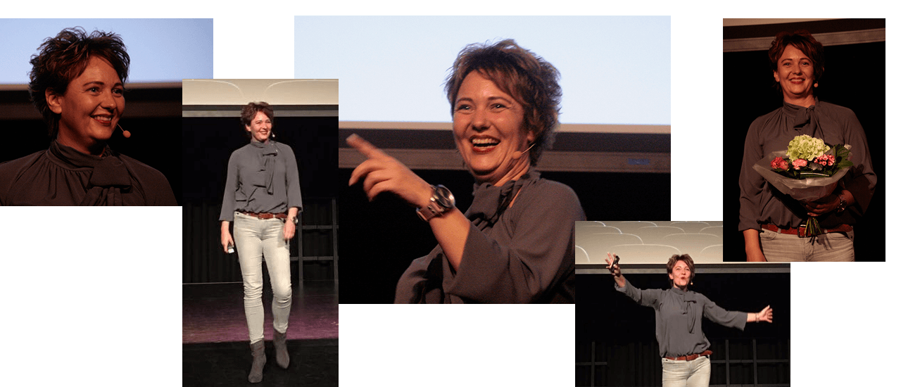 Johanna Dijkstra spreker on stage